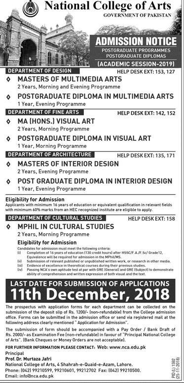 National College Of Arts Admission 2020 Paperpks