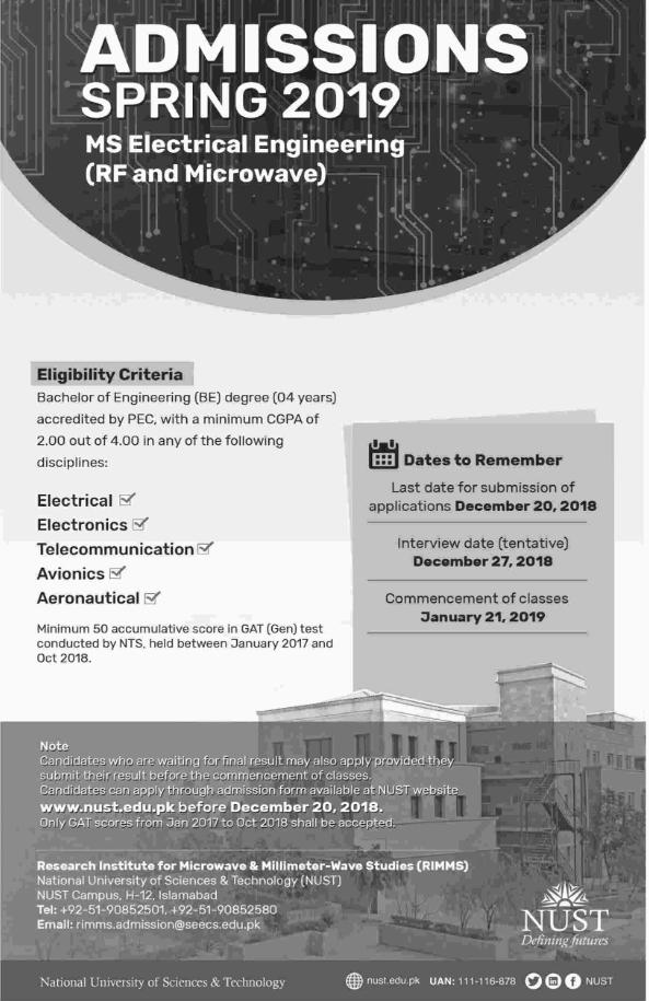 NUST University Admission 2019 – Paperpks