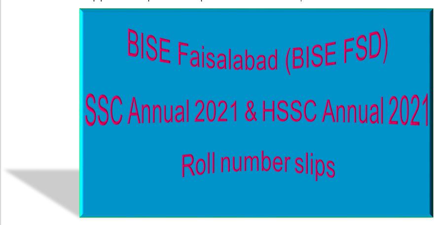 BISE FSD Roll SSC & HSSC Roll number slip 2021