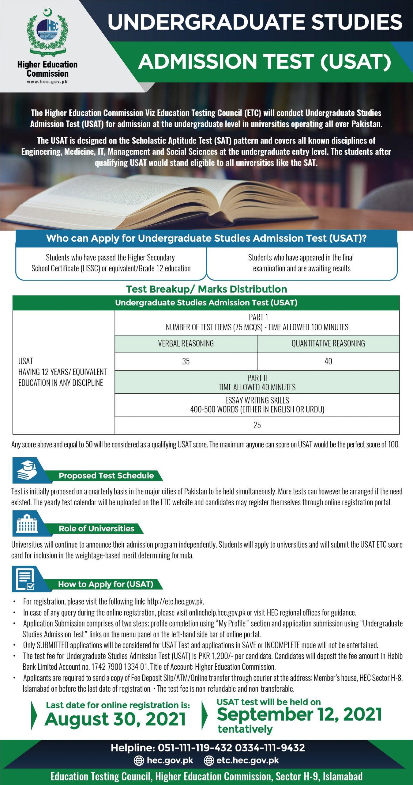 HEC USAT undergraduate studies admission test