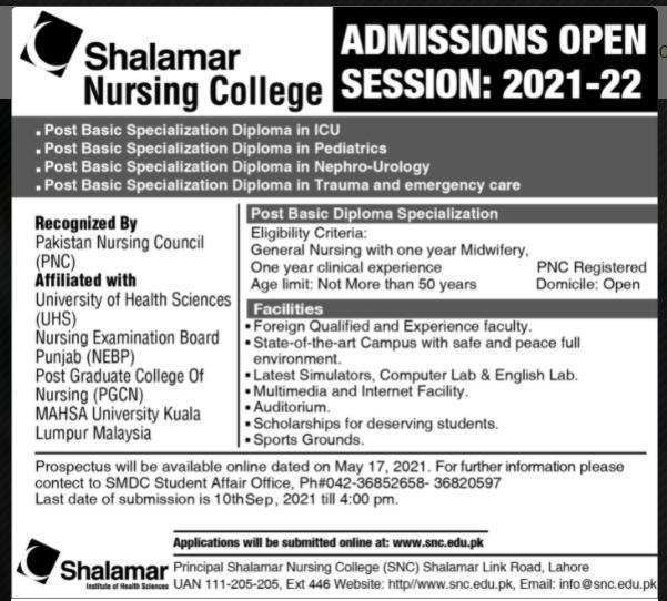 Shalamar Nursing college admission